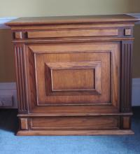 A pair of panelled heavy oak box Pedestals, 92cms (36'') wide, 84cms (33'')