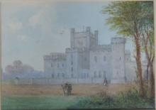19th Century Irish School  Watercolour: ''Baronial Castle with soldiers in