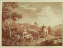 19th Century French Engravings  An attractive pair of large Sepia Engraving