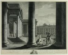 After James Malton  Rare Engraving: ''A View of the Portico of the Senate H