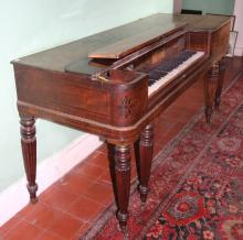 An early 19th Century mahogany and crossbanded square Piano, by John Broadw