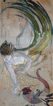 A.E. George Russell  Watercolour: ''Mermaid swimming with colourful Fish,''