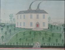 Early 19th Century Irish Naive School  Co. Mayo: Watercolour: ''Greenwood P