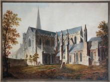 George Miller (fl. 1815 - 1819)  Watercolour: ''St. Patrick's Cathedral, Du