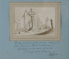 Samuel Lover (1797 - 1868)  Sepia Watercolour: ''The Ruins at Clonmacnoise,