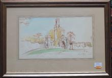 Raymond Mc Grath  Pen & Watercolour: ''Castellated Estate Entrance,'' signe