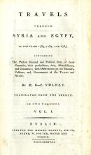 Dublin Printing: Volney (M.C-F.)  Travels through Syria and Egypt, in the Y