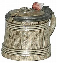 1/8 L. Barrel Character w Inlay Lid Mettlach Stein