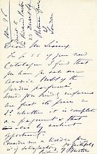 BURTON, SIR RICHARD F.. Autograph Letter Signed - (ALS)