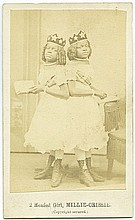 AFRICAN AMERICAN SIAMESE TWINS CARTE DE VISITE. Photograph - (UP)