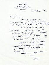 LOWRY, L.S.. Autograph Letter Signed - (ALS)