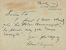 SARGENT, JOHN SINGER. Autograph Letter Signed - (ALS)