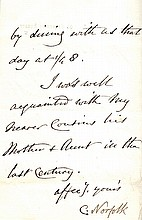 DUCHESS OF NORFOLK. Autograph Letter Signed - (ALS)