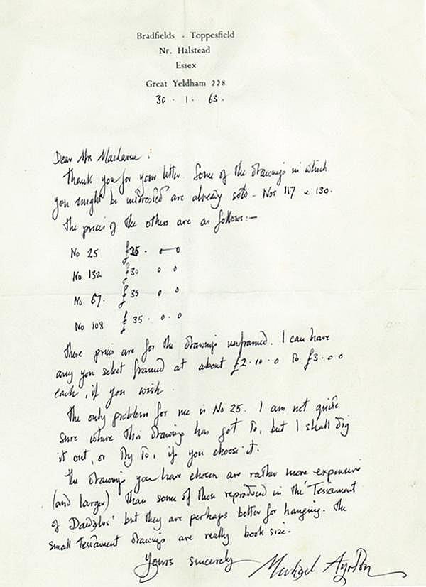 AYRTON, MICHAEL,  Autograph Letter Signed - (ALS)