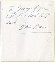 BACON, FRANCIS - INSCRIBED TO GEORGE DYER CAT A signed presentation copy of...