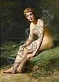 ARMAND LAROCHE, (FRENCH 1826-1903), FEMALE NUDE BY POND WITH WATER LILIES