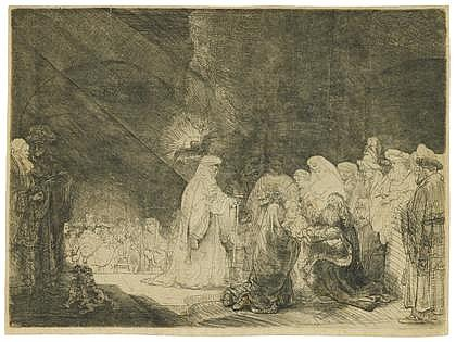 REMBRANDT VAN RIJN, (DUTCH 1606-1669), THE PRESENTATION IN THE TABLE: OBLONG PRINT