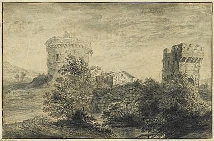 ATTRIBUTED TO JAN FRANS VAN BLOEMEN, L'ORIZZONTE, (FLEMISH 1662-1749), ITALIANATE LANDSCAPE WITH STONE BRIDGE