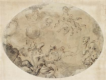 ATTRIBUTED TO GIOVANNI DOMENICO TIEPOLO, (ITALIAN 1727-1804), CHERUBS, ANGEL AND MALE ALLEGORICAL FIGURES