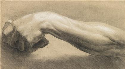 ATTRIBUTED TO RICHARD EARLOM, (BRITISH 1743-1822), STUDY OF LEFT ARM