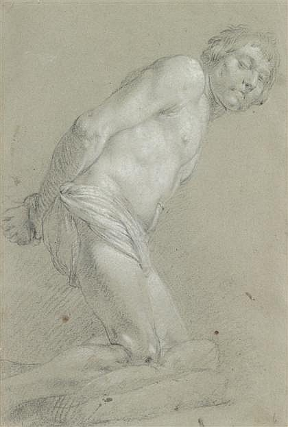 ATTRIBUTED TO CORRADO GIAQUINTO, (ITALIAN BORN CIRCA 1703-1765), KNEELING MALE WITH BOUND HANDS