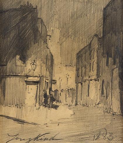 JOHAN BARTHOLD JONGKIND, (DUTCH 1819-1891), STREET SCENE
