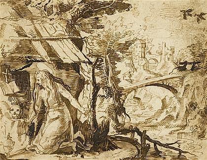 JACQUES DE GHEYN II, (DUTCH 1565-1629), MARY MAGDALENE IN THE WILDERNESS