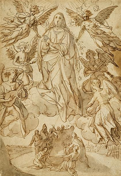 SIENNESE SCHOOL, (16TH CENTURY), ASSUMPTION OF THE VIRGIN
