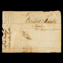 1 piece. Arnold, Benedict. Postal Envelope Fragment Signed. 4 1/2 x 6 1/2 in; 114 x 160 mm. Strong, dark signatue.
