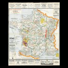1 piece. Partly-colored Fold Lithographic Poster-Map.