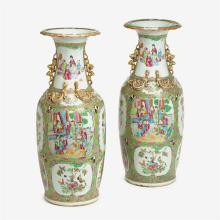 Pair of Chinese export porcelain rose medallion vases, second half 19th century
