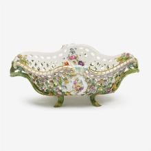 Large Meissen style floral encrusted porcelain reticulated centerpiece, late 19th/early 20th century