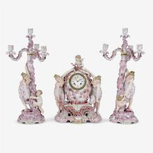 Sitzendorf porcelain figural clock garniture, retailed by Bailey, Banks and Biddle, Philadelphia, PA