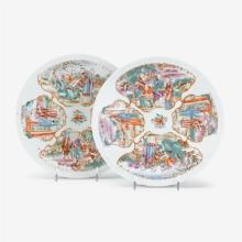 Pair of Chinese export porcelain 'Mandarin palette' dishes, 19th century