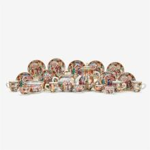 Chinese export porcelain 'Mandarin palette' miniature tea service, late 19th century