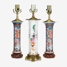 Three Chinese export porcelain vases mounted as lamps, last quarter 18th century