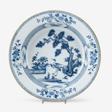 Chinese export porcelain blue and white basin, 18th century