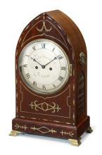 Regency brass inlaid mahogany mantle clock, John Barth, London, early 19th century