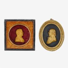 Two framed wax portrait miniatures, late 19th century