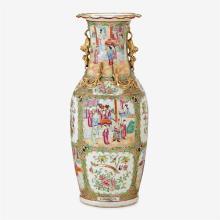 Large Chinese export porcelain rose medallion baluster vase, second half 19th century