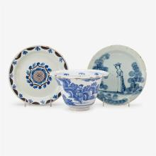 English Delft blue and white chinoiserie bowl, dated 1668
