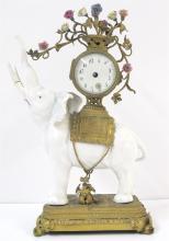 Louis XV style gilt bronze and porcelain elephant-form mantle clock, 19th century
