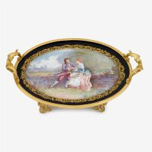 French Sèvres porcelain and ormolu tray, 19th century