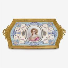 French Sèvres style porcelain and ormolu tray, 19th century