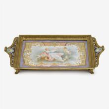 French Sèvres style porcelain and champlevé enamel tray, 19th century