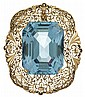 14 karat rose gold aquamarine brooch, , Emerald cut aquamarine approximately 55.00 carats, pierced frame.