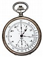 Silver chronograph pocket watch, Paul Ditisheim, solvil, ca. 1910, Circular open face displaying two subsidiary dials and signed by the