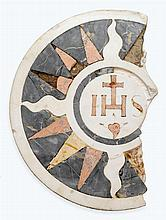 Italian white marble and mosaic inlaid tomb or altar fragment, 15th century, One side inlaid with IHS and sunburst icon, the other carv