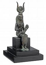 Egyptian bronze figure of Isis and Horus, late period to ptolemaic period, 664-30 b.c., Modelled seated, on custom wood base.