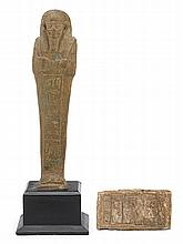 Egyptian faience figure of Ushabtis, new kingdom to late period, 1550-332 b.c., Together with stone tablet carved with hieroglyphics.